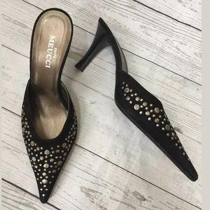 SESTO MEUCCI Black Suede Studded Pointy Toe Shoe 9